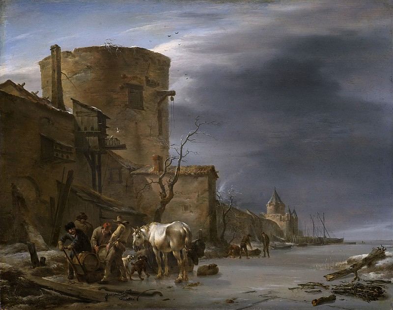 Berchem, Nicolaes Pietersz. -- Stadswal van Haarlem in de winter., 1647. Rijksmuseum: part 1