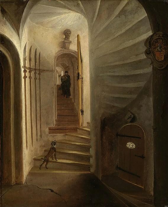 Poel, Egbert Lievensz. van der -- Portaal in een traptoren met een afdalende man, vermoedelijk de situatie vlak voor de aanslag op prins Willem I in het Prinsenhof te Delft, 1640-1664. Rijksmuseum: part 1