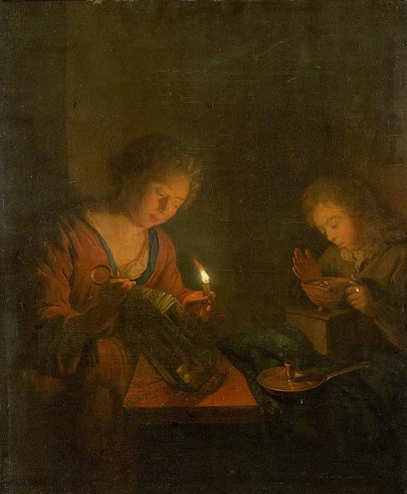 Schalcken, Godfried -- Een meisje plaatst een kaars in een lantaarn en een jongen verzorgt een vuurtest voor een stoof, 1690-1706. Rijksmuseum: part 1