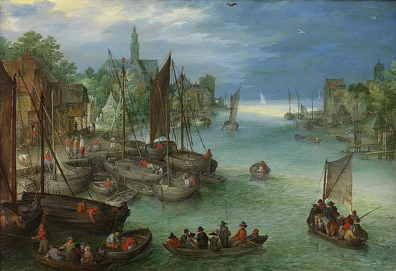 View of a City along a River (attr.). Jan Brueghel The Elder