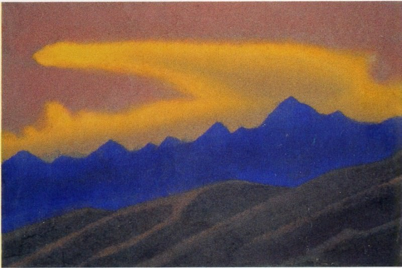 Himalayas # 43 Golden cloud over blue ridge. Roerich N.K. (Part 5)