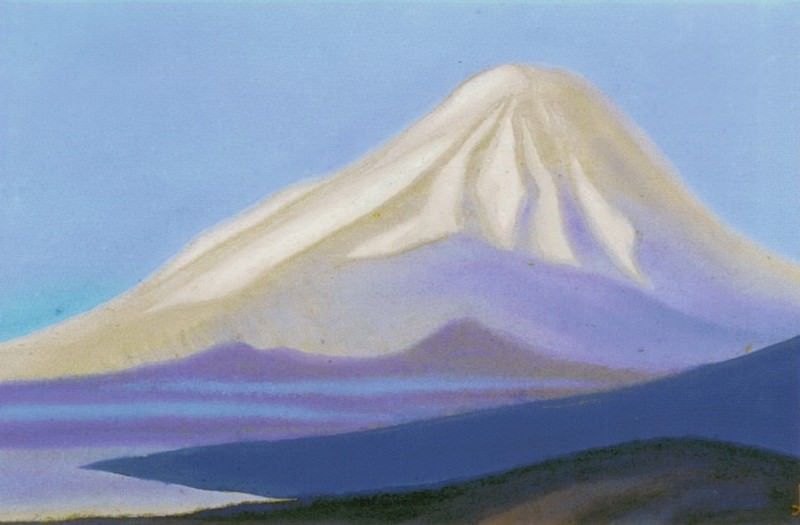 The Himalayas # 150 The snowy peak at dawn. Roerich N.K. (Part 5)