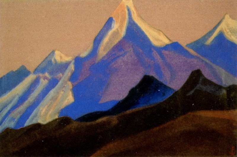 The Himalayas # 24 The blue peak on the purple sky. Roerich N.K. (Part 5)
