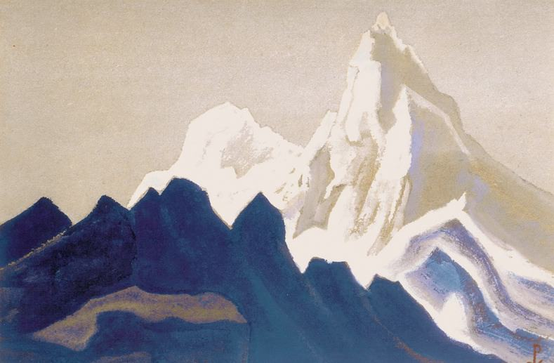 Himalayas # 135 Gray-pink rocks. Roerich N.K. (Part 5)