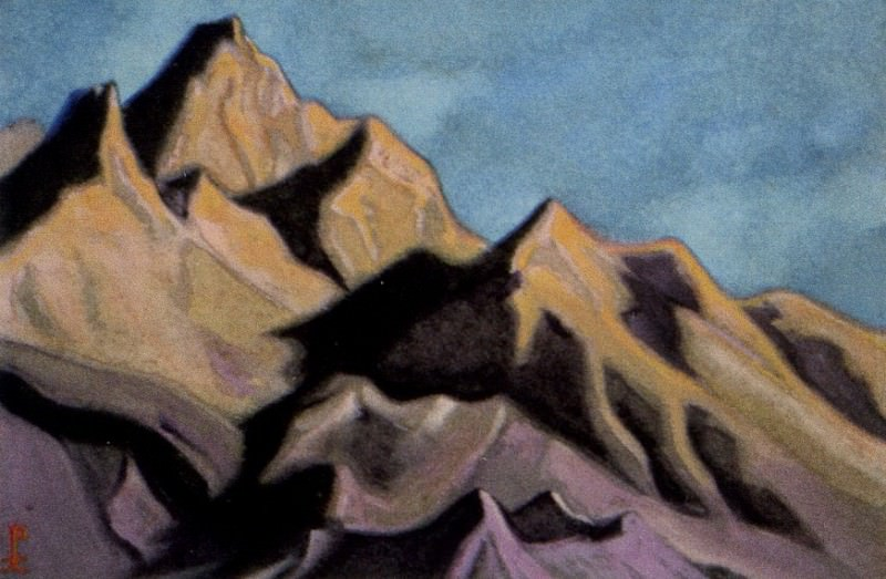 The Himalayas # 206 The peaks at sunset. Roerich N.K. (Part 5)