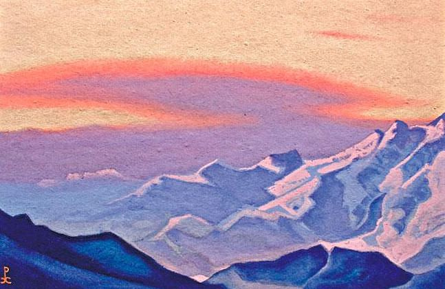 The Himalayas # 154 The Burning Sunset. Roerich N.K. (Part 5)