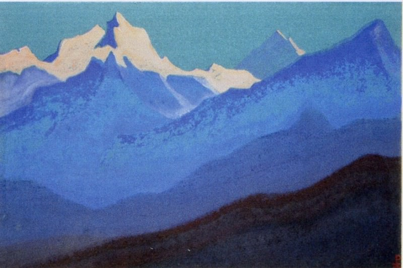 Himalayas # 22 Dawn coloring the tops. Roerich N.K. (Part 5)