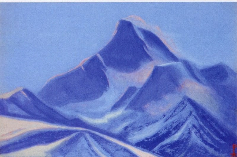 Himalayas # 34 Blue peak at sunset. Roerich N.K. (Part 5)