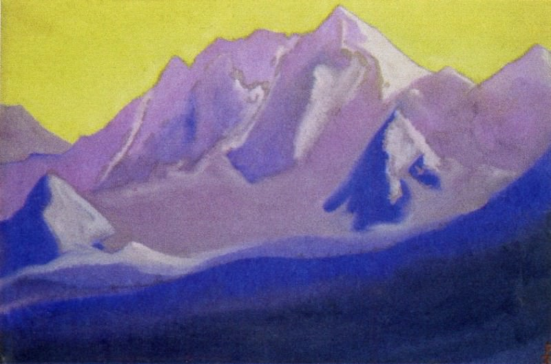 The Himalayas # 142 The top on the golden sky. Roerich N.K. (Part 5)