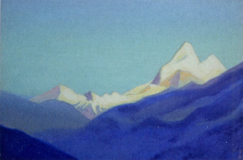 Himalayas # 9 Snow Mountain over blue slope. Roerich N.K. (Part 5)