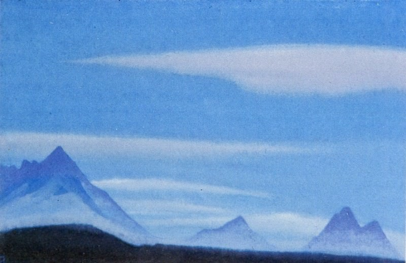 The Himalayas # 3 The blue sky above the mountain peaks. Roerich N.K. (Part 5)