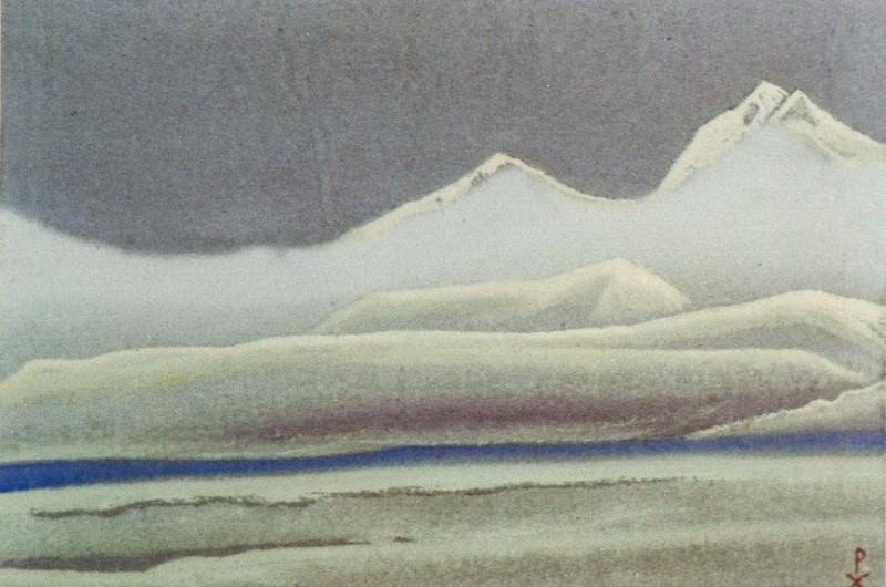 Tibet # 85 (Noctilucent mountains in fog). Roerich N.K. (Part 5)