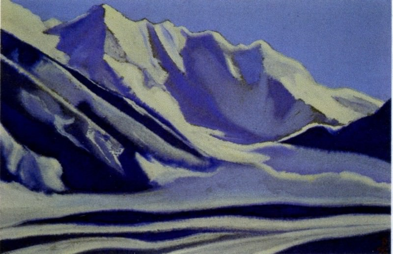 Himalayas # 71 Rocks covered with ice. Roerich N.K. (Part 5)