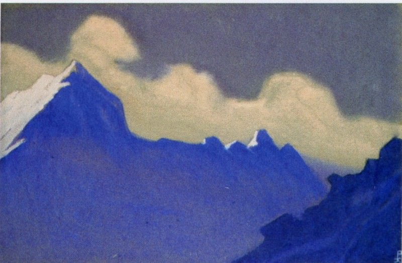 Himalayas # 128 Illuminated cloud over dark rocks. Roerich N.K. (Part 5)