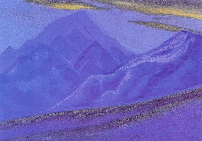 Ladakh # 102 Ladakh (Golden clouds over blue mountains). Roerich N.K. (Part 5)
