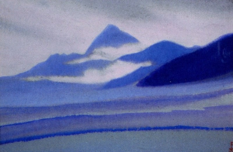 Chumolhari # 64 Chomo-Lhare (Noctilucent clouds on mountains). Roerich N.K. (Part 5)