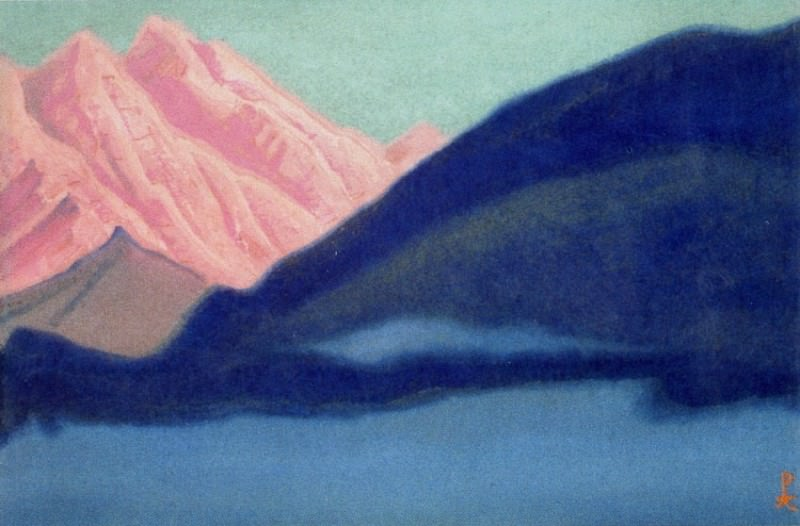 Himalayas # 157 Pink top protruding from behind a rock. Roerich N.K. (Part 5)