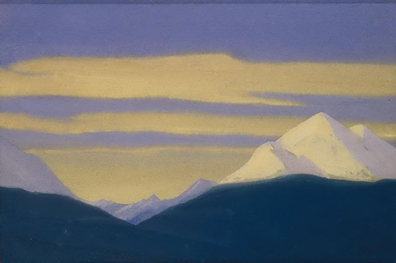 The Himalayas # 86 Golden clouds on the purple sky. Roerich N.K. (Part 5)