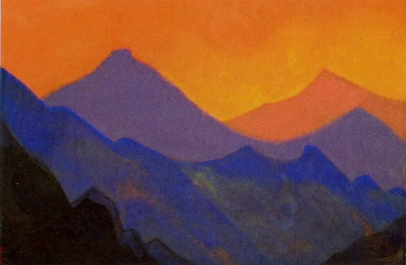 Himalayas # 6 Purple mountains against the backdrop of the setting sun.. Roerich N.K. (Part 5)