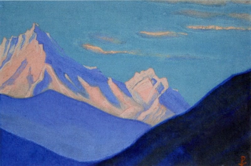 Himalayas # 115 Peaks protruding from the mountain ridge. Roerich N.K. (Part 5)