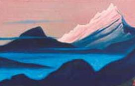 The Himalayas # 155 The pink top above the fog. Roerich N.K. (Part 5)