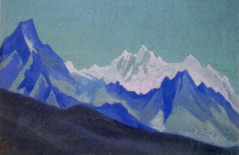 The Himalayas # 18 The purple mountains against the background of the yellow sky. Roerich N.K. (Part 5)