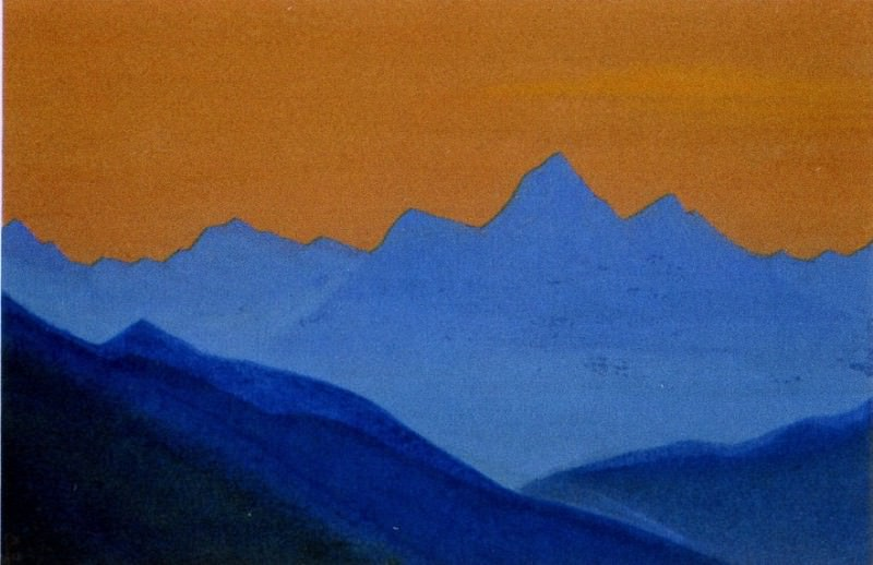 Evening # 98 Evening (Blue Mountain on orange background sky). Roerich N.K. (Part 5)