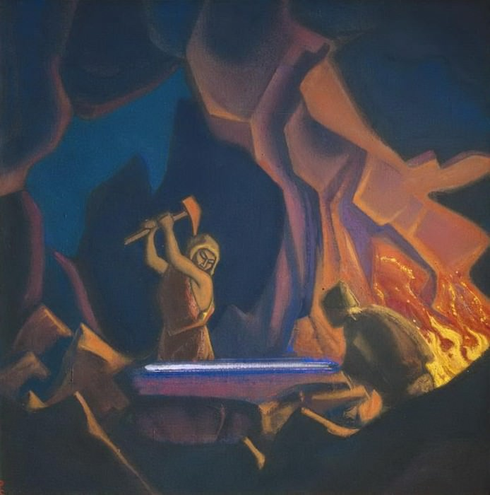 Forging the sword April) # 47 (Forging the sword (Nibelungs). Roerich N.K. (Part 5)