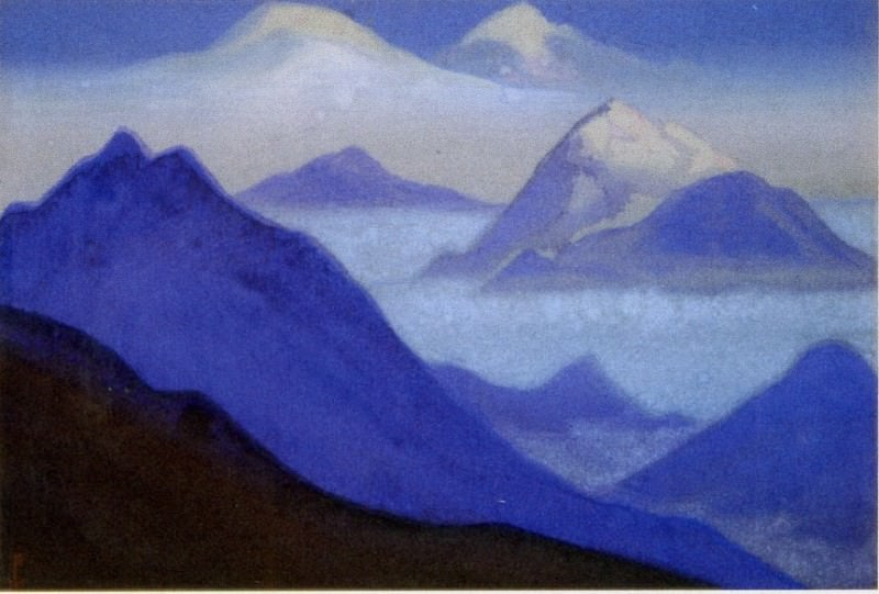58 Blue # Himalaya mountains and mist. Roerich N.K. (Part 5)