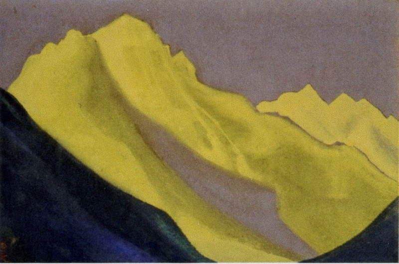 Himalayas # 58 Snow, illuminated with golden light. Roerich N.K. (Part 5)