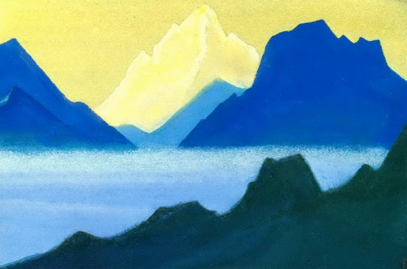Himalayas # 35 Golden peak in the olive sky. Roerich N.K. (Part 5)