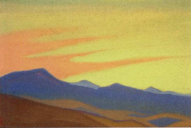 Desert # 12 Desert (Purple mountain and golden sky). Roerich N.K. (Part 5)