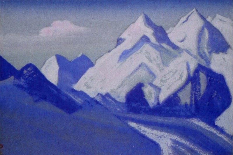 Himalayas # 65 Mountain peaks lilac dusk. Roerich N.K. (Part 5)