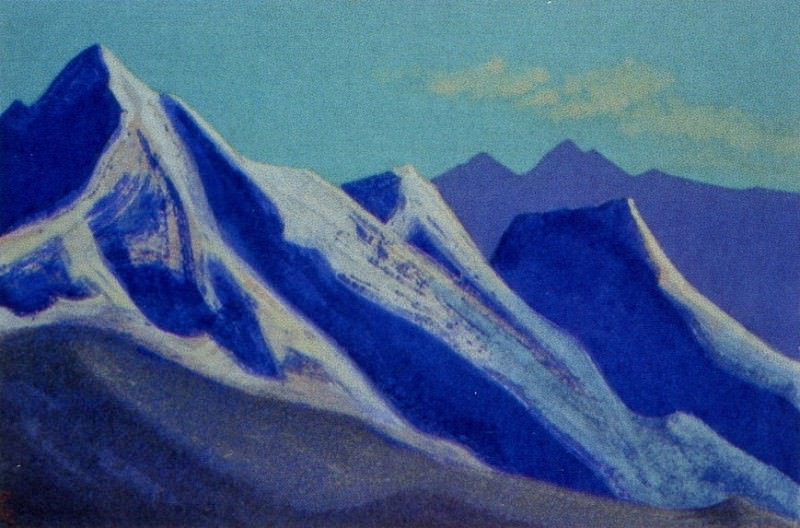 Himalayas # 100 Mountain peaks illuminated by the sun. Roerich N.K. (Part 5)