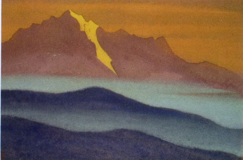 Himalayas # 34 Mountains in blue mist. Roerich N.K. (Part 5)