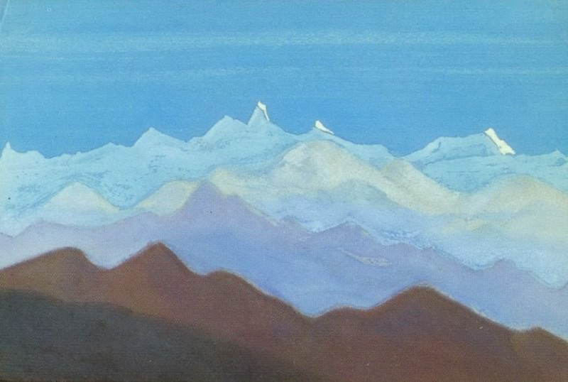 The Himalayas # 187 View of the mountain range. Roerich N.K. (Part 5)