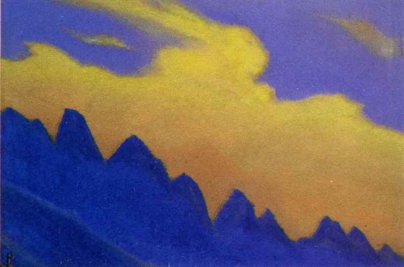 Cloud # 94 (silhouette blue mountains against Staphylococcus clouds). Roerich N.K. (Part 5)