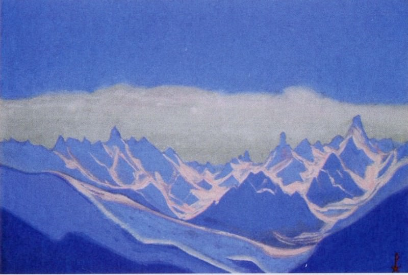 Himalayas # 3 Reflections of the sunrise on the blue peaks. Roerich N.K. (Part 5)