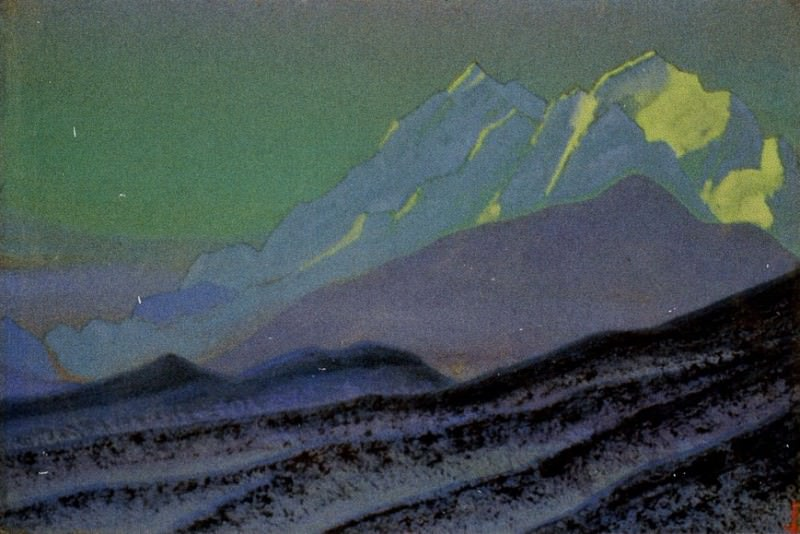 Himalayas # 212 Spurs of blue mountains at night. Roerich N.K. (Part 5)
