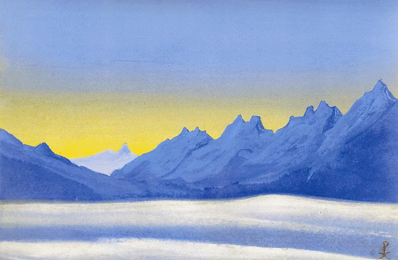 The Himalayas # 59 Outlines of distant mountains. Roerich N.K. (Part 5)