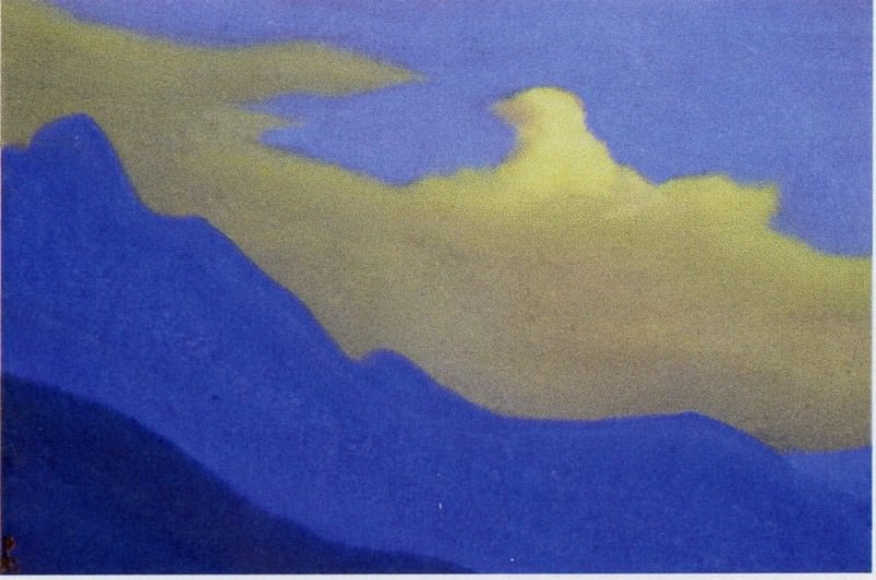 Cloud # 82 (Golden cloud over mountain slopes). Roerich N.K. (Part 5)