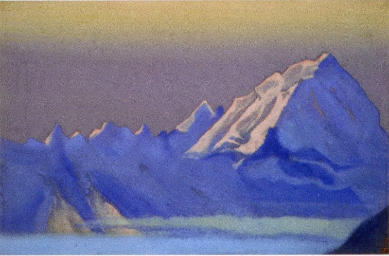Himalayas # 71 snowy mountains in the evening dawn. Roerich N.K. (Part 5)