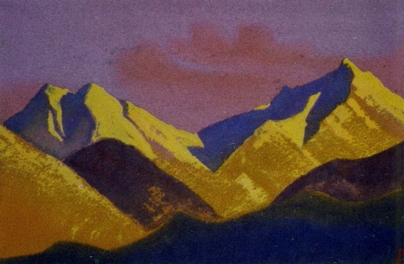 Himalayas # 41 Mountains illuminated by the setting sun. Roerich N.K. (Part 5)