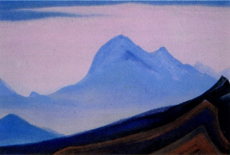 The Himalayas # 23 The blue cliff at dawn. Roerich N.K. (Part 5)