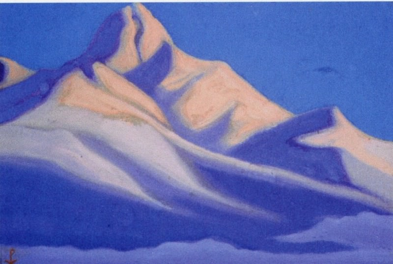 Himalayas # 90 Peak snowy mountains at dawn. Roerich N.K. (Part 5)