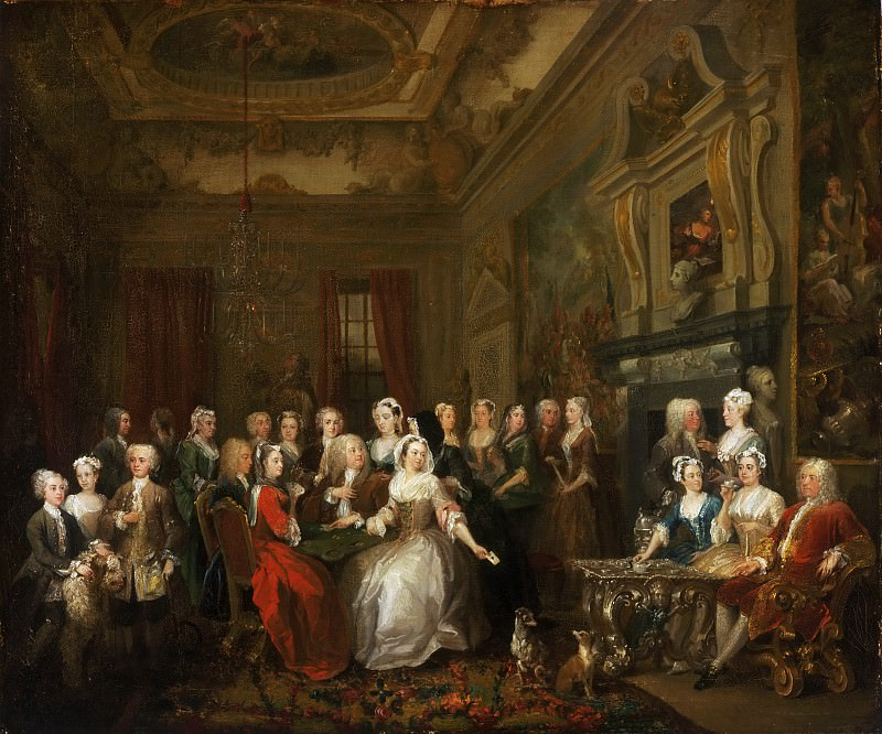 William Hogarth, English, 1697-1764 -- Assembly at Wanstead House. Philadelphia Museum of Art