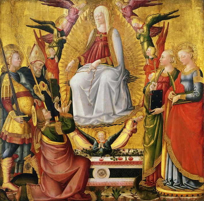 Neri di Bicci, Italian (active Florence), 1419-1492 -- Saint Thomas Receiving the Virgin's Girdle, with the Archangel Michael, Saints Augustine, Margaret, and Catherine of Alexandria, and Angels. Philadelphia Museum of Art