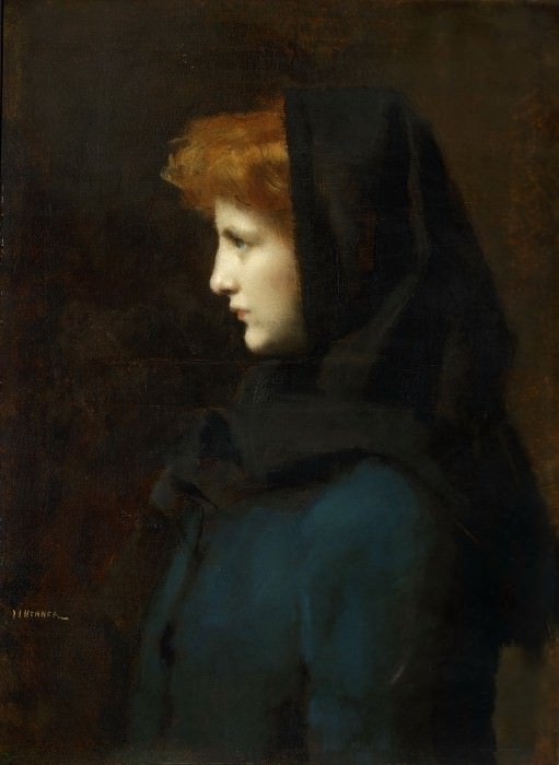 Jean-Jacques Henner, French, 1829-1905 -- Head of a Girl. Philadelphia Museum of Art