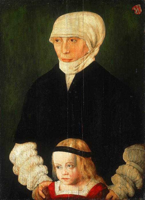 Barthel Beham, German (active Nuremburg), c. 1502-1540 -- Portrait of Margaret Urmiller and Her Daughter. Philadelphia Museum of Art