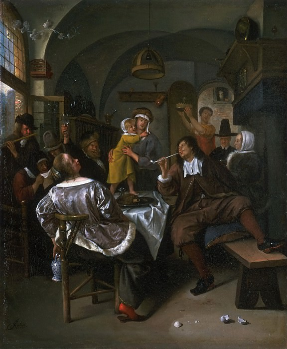 Attributed to Jan Steen, Dutch (active Leiden, Haarlem, and The Hague), 1625/26-1679 -- Merry Company. Philadelphia Museum of Art